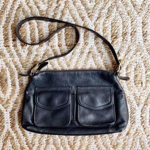 Fossil Black Leather Two Pocket Shoulder Bag